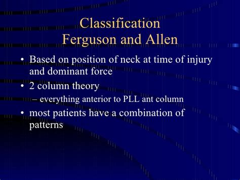 pattern classification theory cervical spine injuries classification and non operative