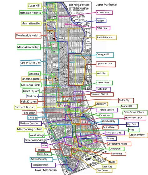 map of nyc neighborhoods neighborhoods of manhattan maps charts