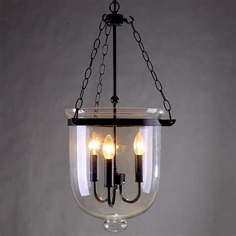Bell Jar Light Fixtures Retro Rustic Clear Glass Bell Jar Pendant Light With 3 Candle Lights Lighting