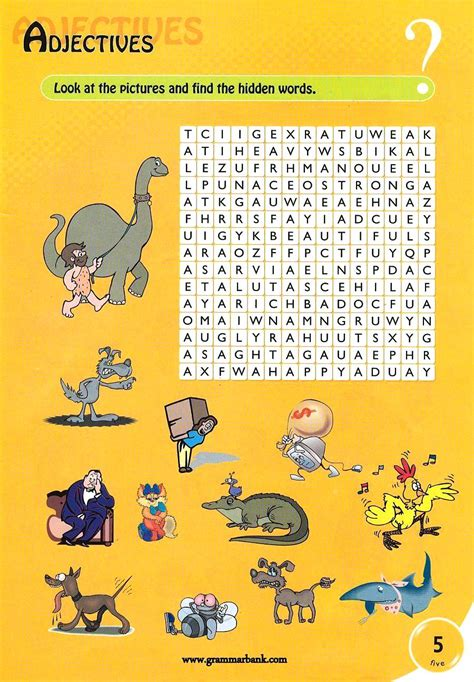 Picture Search For Adjectives Wordsearch For