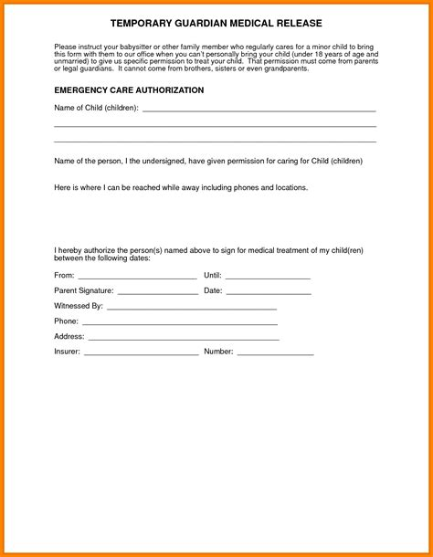authorization letter release document family self help center guardianship forms