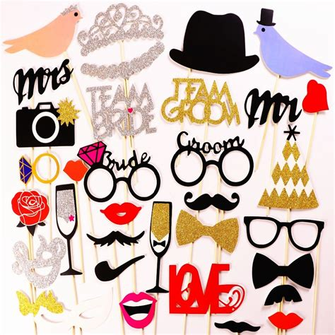 photo booth mrmrs just married photobooth props bridal shower wedding decoration