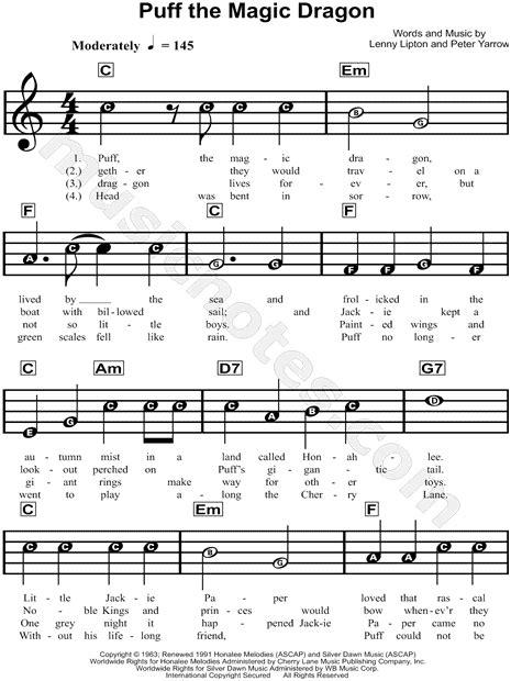 printable lyrics for puff the magic dragon peter paul and mary quot puff the magic dragon quot sheet music