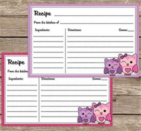 owl printable recipe cards 1000 images about recipe card craft on pinterest recipe