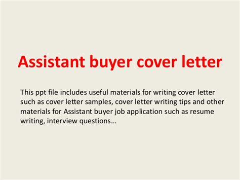 Buying Assistant Cover Letter by Assistant Buyer Cover Letter