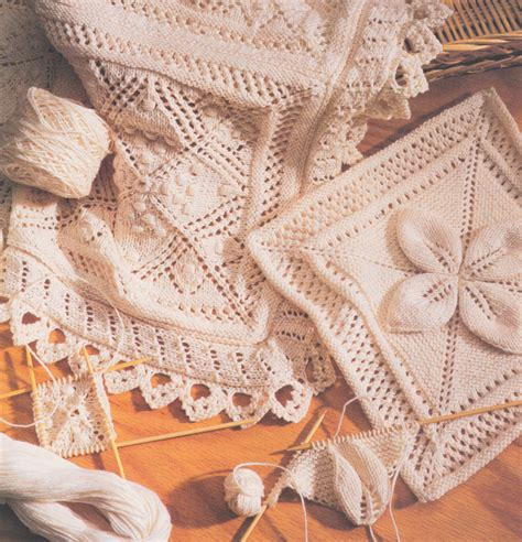 leaf pattern baby shawl cotton lace or leaf squares edging bedspread cushion or