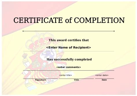 certificate of successful completion template certificate of completion award template gallery