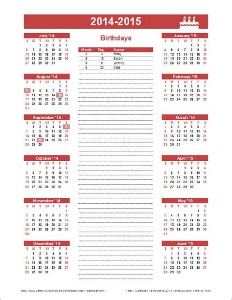 birthday calendar template yearly birthday calendar