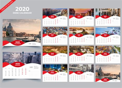desk calendar  template vector premium