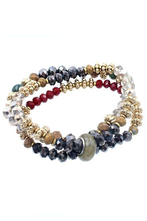 Layered Glass Stone Stretch Bracelet   Bracelets