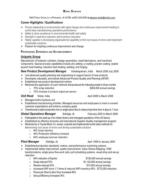director of operations resume sle sle resume operations manager 28 images sle resume