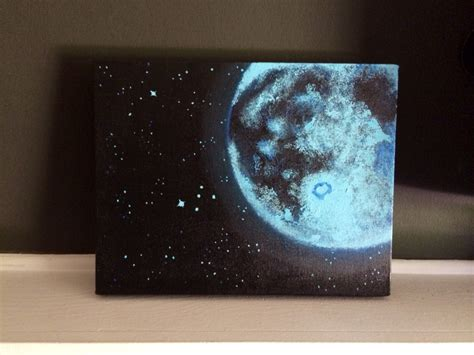 acrylic painting mystical moons planet blue moon and acrylic painting 11x14 inches home