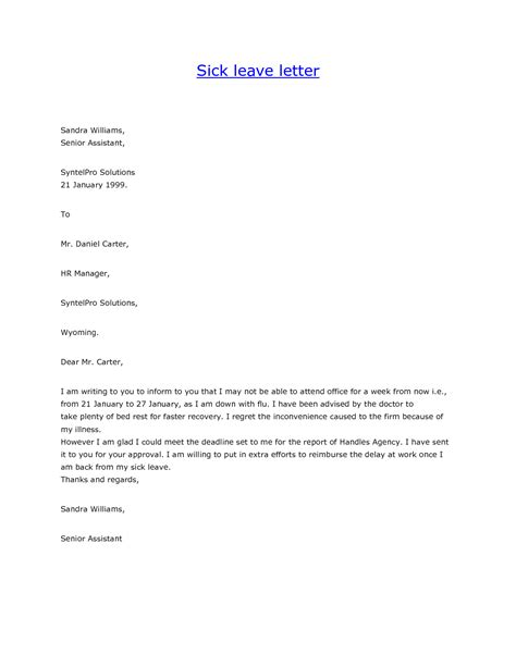 sick email template sick email template leave of absence letter from doctor