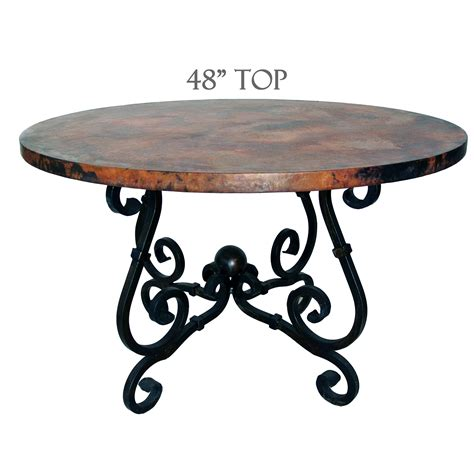 dining table with 48 inch copper top