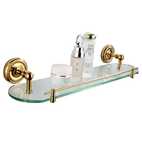Brass Bathroom Shelves Advanced Single Brass Glass Bathroom Shelves