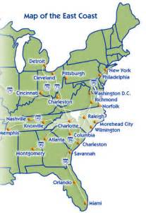east coast states in us map map of eastern seaboard united states
