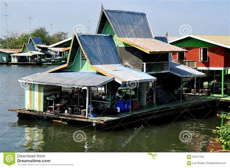 boat house thailand kanchanaburi thailand houseboats on river kwai editorial