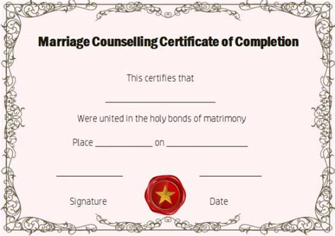 Certificate Of Completion 22 Templates In Word Format Demplates Free Premarital Counseling Certificate Of Completion Template
