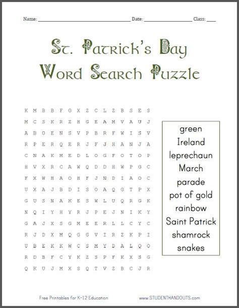 printable wordsearch for grade 1 st patrick s day word search puzzle for grades 1 4 free