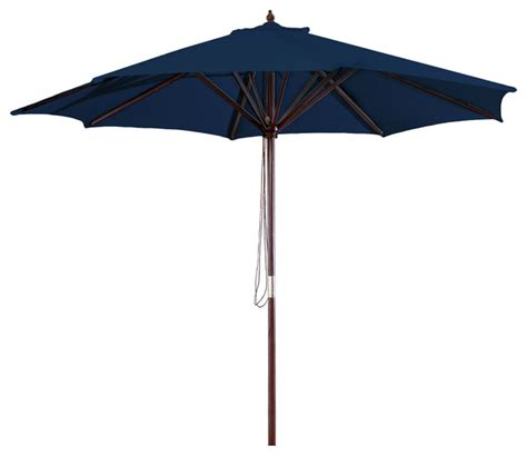 Patio Umbrella Frame 9 Wood Frame Patio Umbrella With Pulley And Royal Blue Canopy Contemporary Outdoor