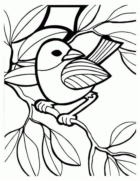 mewarnai gambar burung bertengger di ranting contoh anak paud