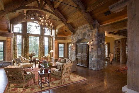 rustic great room great room rustic living