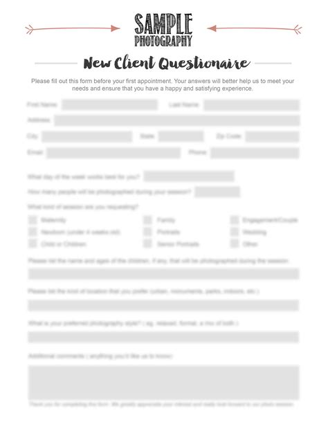 New Customer Questionnaire Template by Photographer New Client Questionnaire Photography New