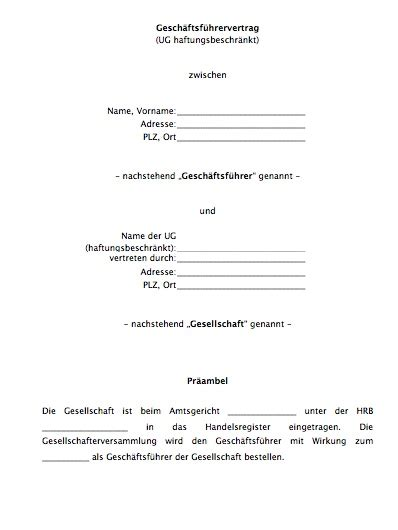 Bewerbung Mini Muster Geschftsfhrervertrag Mini Gmbh Konto Erffnen Vorlagen