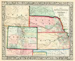 colorado kansas map map of kansas nebraska and colorado showing also the