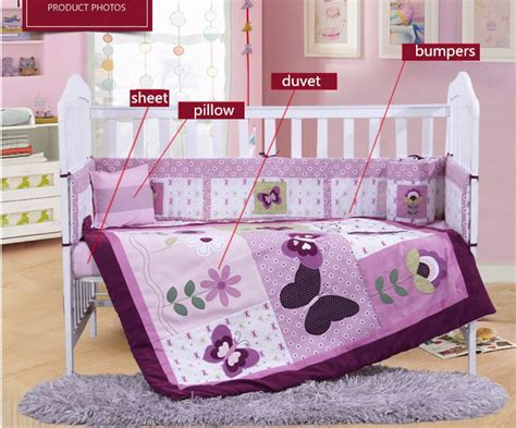 discount 4pcs purple baby bed bumper baby crib bedding