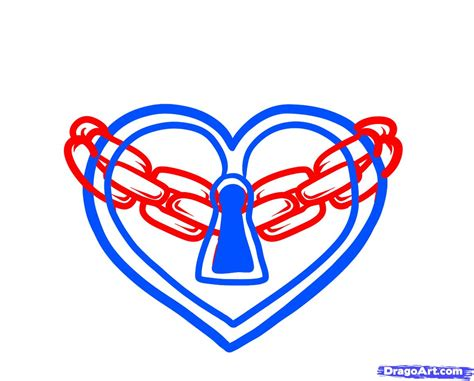 how to draw a heart lock heart lock tattoo step by step