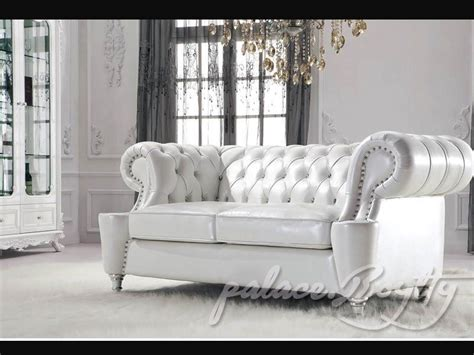 White Leather Living Room Chair - classic italian white leather living room sofas