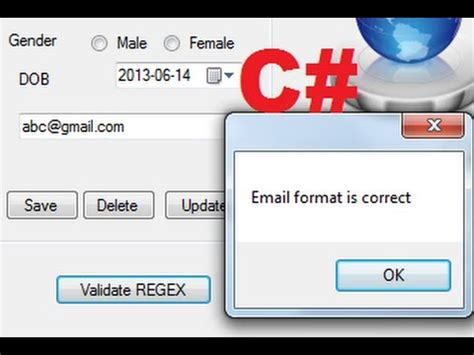 regex pattern email validation how to validate a valid email address entered into the