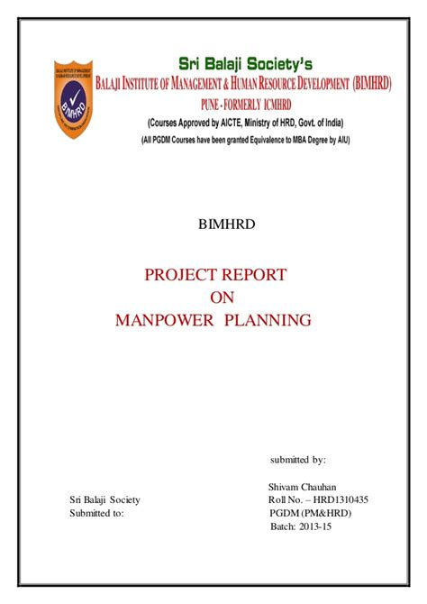 Mba Project Report On Manpower Planning by Desk Project On Manpower Planing