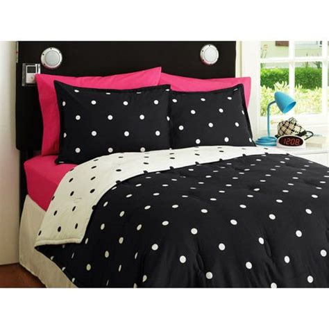 polka dot comforter queen your zone reversible comforter and sham set black white