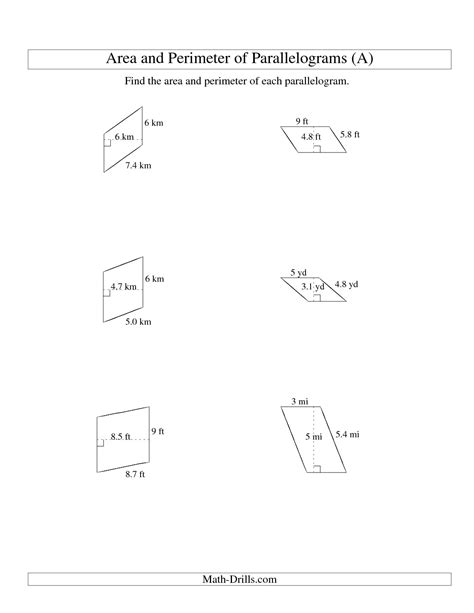 area and perimeter of parallelograms whole number base
