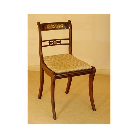 brass inlaid dining chairs a set of six from the regency