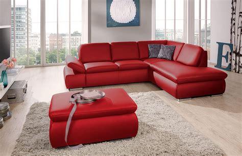 ledersofa mit ottomane laventura poco ledersofa rot sofas couches kaufen