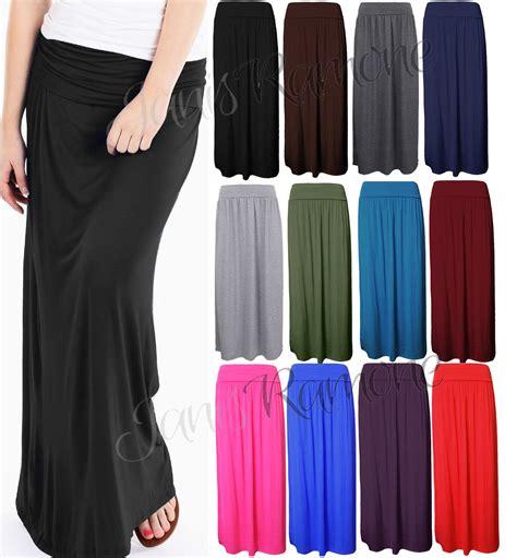 W 09new Zaenab Maxi Jersey new womens plain pleated fold waist jersey maxi skirt size 16 26 ebay