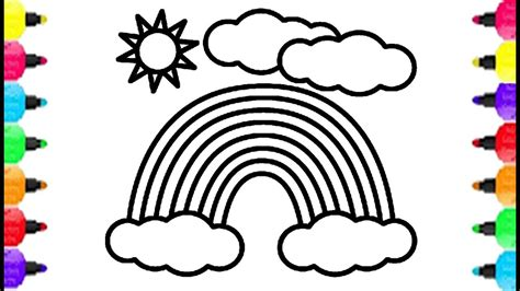 rainbow coloring rainbow coloring pages how to draw rainbow clear sky
