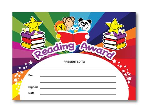 reading certificate templates reading award certificates