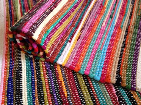 plain bright multi coloured rag rug various sizes