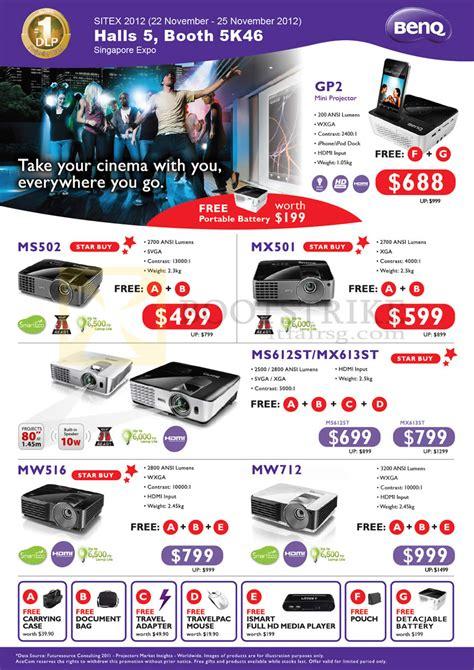 Projector L Price List by Acecom Benq Projectors Gp2 Mini Ms502 Mx501 Ms612st