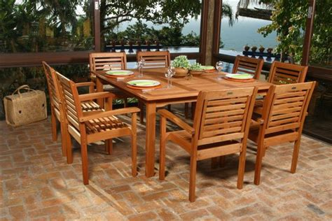 wooden patio dining sets eucalyptus wood outdoor furniture at the galleria