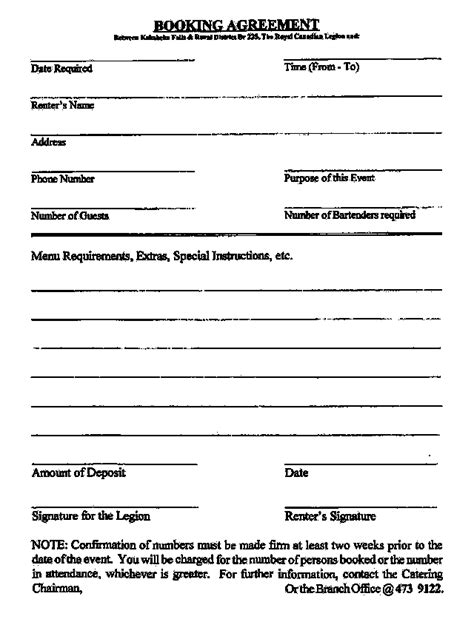 booking contract template kakabeka legion booking agreement