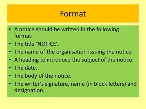 notice writing format notice writing ppt
