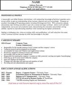 systems administrator cv example forums learnist org