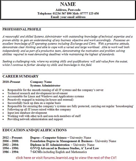 systems administrator cv exle forums learnist org