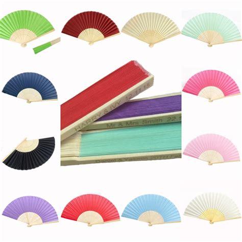 personalized folding fans wholesale 10pcs personalized ladies bamboo raw silk fan hollow
