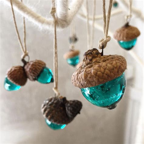 Unique Handmade Ornaments - acorn ornament handmade glass ooak unique by